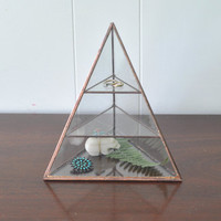 NEW Lyra Pyramid Display Box - glass pyramid - jewelry box - hinged - silver or copper - eco friendly