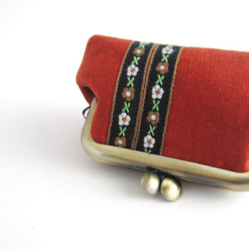 Coin Purse - Mini Jewelry Case with Ring Pillow- embroidered ribbon on dark orange