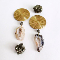 Sacered Geometry Crystal Statement Earrings. Concentric Circles / Pyrite / Agate Geodes