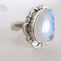 Vintage Moonstone Ring. Handmade Bohemian Gypsy Jewelry. Size 7. Sterling Silver Plated