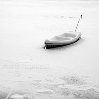 winter came early photo - rowboat in ice winter photography - winter photography black and white - frozen lake rowboat black and white photo