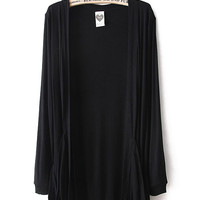 Black Long Sleeve Pockets Cardigan Sweater - Sheinside.com
