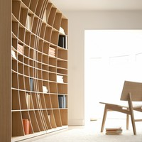 'Concave' Bookcase in Oak - Bookcases + Shelving - Cabinets + Shelving