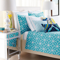 Trina Turk Turquoise and White Trellis Bed Linens