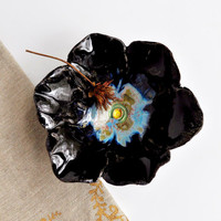 black poppy prep bowl ceramic flower bowl