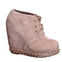 Lace up Platform Wedge Bootie (6, taupe79) [Apparel]