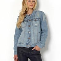 Achro Distressed Jean Jacket - Labels We Love: Rachel Roy, BCBG, DVF & More - Modnique.com