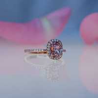 1.8ct cushion Peach sapphire Champagne sapphire ring diamond ring 14k rose gold Engagement ring
