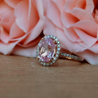 2ct Oval champagne peach sapphire diamond ring 14k rose gold ring