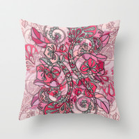 Baroque Doodle in Berry Pink and Peach Throw Pillow by micklyn