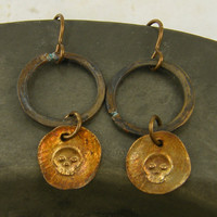 Skull Drop Earrings - Rustic Brass Hoop Oxidized Mixed Metal Dark Jewelry