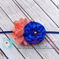 Coral Royal Blue Headband - Tiny Baby Headband - Flower Girl Hair Clip - Infant Hair Bow - Newborn Photo Prop