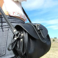 Black Vegan Leather Mini Purse by Catwalk