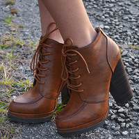 Step Out In Style Booties: Cognac
