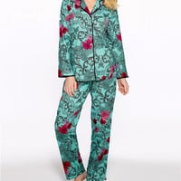 Betsey Johnson Graphic Floral Flannel Pajama Set Sleepwear 739664 at BareNecessities.com
