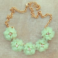 Pree Brulee - Mint Sparkling Bouquet Necklace