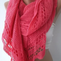 Pink Shawl Scarf Neck warmers Knitting Machine Christmas Gift