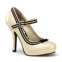 Cream Black Velvet Trim Mary Jane Heels with Bow - pleaser usa - style  secret 15