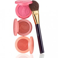 leave her blushing set of 3 deluxe Amazonian clay blushes & blush brush from tarte cosmetics