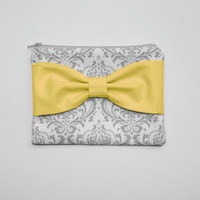 Cosmetic Case / Zipper Pouch - Gray and White Damask with Yellow Side or Center Bow
