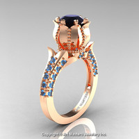 Classic 14K Rose Gold 1.0 Ct Black Diamond Blue Topaz Solitaire Wedding Ring R410-14KRGBTBD