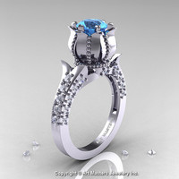 Classic 14K White Gold 1.0 Ct Aquamarine Diamond Solitaire Wedding Ring R410-14KWGDAQ
