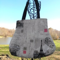 Paris Eiffel Tower Postcard Script Travel Fabric handbag purse