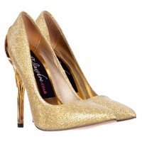 Onlineshoe Party Mid Heel Glitter Court Shoes  - Gold Heel Detail - Gold, Silver, Black - Onlineshoe from Onlineshoe UK