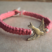 Flying Bird Bracelet Swallow Hemp Bracelet Coral Pink Jewelry