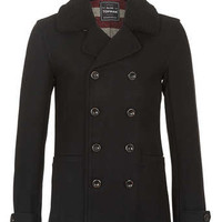 BLACK WOOL BORG PEA COAT - Wool Coats - Men's Coats & Jackets  - Clothing