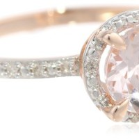 10k Rose Gold Morganite and Diamond Round Shaped Ring (0.05 cttw GH Color I1-I2 Clarity)