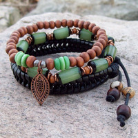 New ~~ Green Buri Nut and Leather - Tribal Gypsy Stack Bracelets