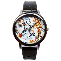 Cat Watch, Women's Black Faux Leather Watch, Cat Print