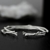 twig bracelet cuff in recycled sterling silver, branch bracelet, eco friendly, bangle cuff, sustainable metals, handmade