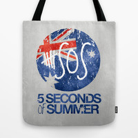 5 Seconds of Summer Flag Tote Bag by dan ron eli