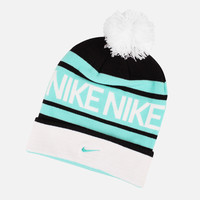 NIKE POM BEANIE (BLACK/TEAL-WHITE)