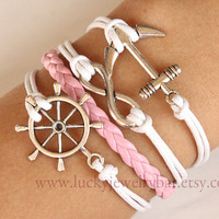 Anchor-- anchor bracelet, Infinity bracelet, rudder bracelet , pink braid leather bracelet, bridesmaid bracelet, Christmas gift