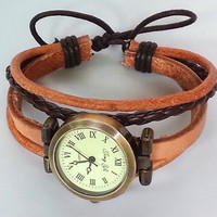 Retro style watch adjustable wrist watch bracelet, real Leather Bracelet Watch, Handmade Women's Watch, Men's wristwatch PB081
