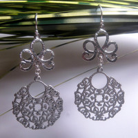 Crown Maze Disk Dangle Earrings With Sterling Silver