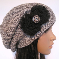 grey and White Knit Slouch Beanie Winter Hat With Black Chiffon Flowers and a Smokey Grey Accent