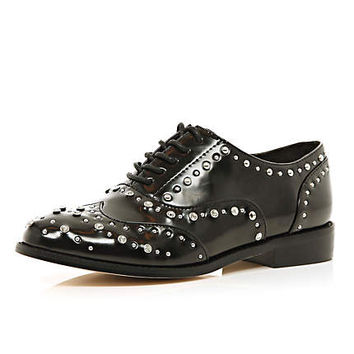 BLACK EMBELLISHED BROGUES