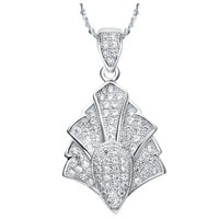 18K White Gold Plated Towers Crystal Pave Pendant Necklace