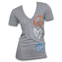 Blue Moon Peace Love Logo Heather Grey Womens Graphic T Shirt