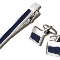 Cuff Link & Tie Clip Set, BlueWILOUBY INTERNATIONAL