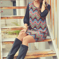 We Made A Pact Chevron Dress: Black