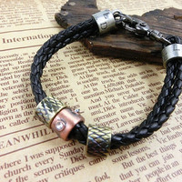 2-Pack Leather Bracelets and Necklace-  Wristband - Great For Men, Women, Teens, Boys, Girls 2597s