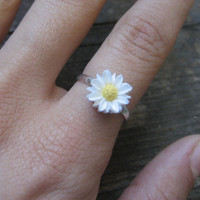 Daisy Adjustable Ring Silver Plated Finger Jewelry