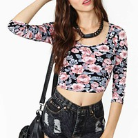 Inked Rose Crop Top