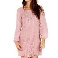 Flying Tomato Women's Lace Mix Shift Dress
