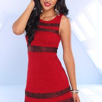 Red Sleeveless Knit Dress with Metallic Stripe Detail